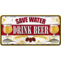 "Plaque métal déco ""save water, drink beer"""
