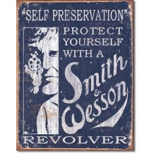 Plaque en métal vieilli Smith & Wesson Self preservation
