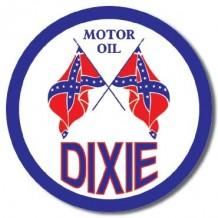Plaque ronde en métal Dixie motor oil