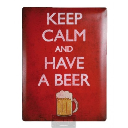Plaque métal Keep Calm and Have a Beer